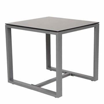 SVITA LOIS Poly Rattan Sitzgruppe Gartenmöbel Metall-Garnitur Bistro-Set Tisch Sessel grau - 6