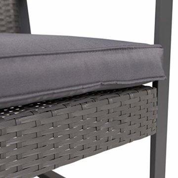 SVITA LOIS Poly Rattan Sitzgruppe Gartenmöbel Metall-Garnitur Bistro-Set Tisch Sessel grau - 7