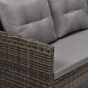 SVITA Poly Rattan Ecksofa Rattan-Lounge Esstisch Gartenmöbel-Set Sofa Garnitur Couch-Eck (Dining Set, Braun) - 2