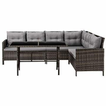 SVITA Poly Rattan Ecksofa Rattan-Lounge Esstisch Gartenmöbel-Set Sofa Garnitur Couch-Eck (Dining Set, Braun) - 4