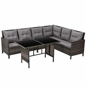 SVITA Poly Rattan Ecksofa Rattan-Lounge Esstisch Gartenmöbel-Set Sofa Garnitur Couch-Eck (Dining Set, Braun) - 1