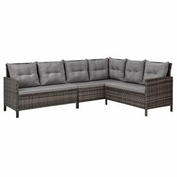 SVITA Poly Rattan Ecksofa Rattan-Lounge Esstisch Gartenmöbel-Set Sofa Garnitur Couch-Eck (Dining Set, Braun) - 5
