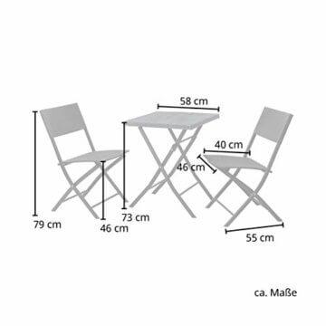 SVITA Polyrattan Bistro-Set 3er Set Balkonset Klappmöbel Stuhl Tisch Gartenmöbel Sitzgruppe Essgruppe Balkonmöbel schwarz - 3