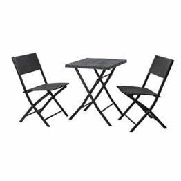 SVITA Polyrattan Bistro-Set 3er Set Balkonset Klappmöbel Stuhl Tisch Gartenmöbel Sitzgruppe Essgruppe Balkonmöbel schwarz - 1