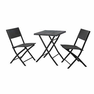 1 Garten Klapptisch Glastisch Bistroset 3er Sitzgruppe 2 Klappstühle schwarz