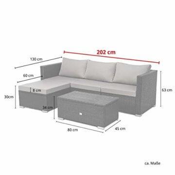 SVITA Queens 2020 Poly Rattan Sitzgruppe Couch-Set Ecksofa Sofa-Garnitur Gartenmöbel Lounge Schwarz, Grau oder Braun (Grau) - 2