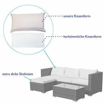 SVITA Queens 2020 Poly Rattan Sitzgruppe Couch-Set Ecksofa Sofa-Garnitur Gartenmöbel Lounge Schwarz, Grau oder Braun (Grau) - 3