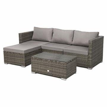 SVITA Queens 2020 Poly Rattan Sitzgruppe Couch-Set Ecksofa Sofa-Garnitur Gartenmöbel Lounge Schwarz, Grau oder Braun (Grau) - 1