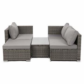 SVITA Queens 2020 Poly Rattan Sitzgruppe Couch-Set Ecksofa Sofa-Garnitur Gartenmöbel Lounge Schwarz, Grau oder Braun (Grau) - 8
