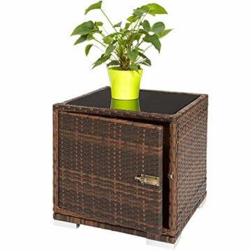 TecTake 2X Aluminium Polyrattan Sonnenliege + Tisch Gartenmöbel Set - inkl. 2 Bezugsets + Schutzhülle, Edelstahlschrauben - Diverse Farben - (Schwarz-Braun (Nr. 401499)) - 2