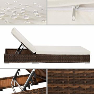 TecTake 2X Aluminium Polyrattan Sonnenliege + Tisch Gartenmöbel Set - inkl. 2 Bezugsets + Schutzhülle, Edelstahlschrauben - Diverse Farben - (Schwarz-Braun (Nr. 401499)) - 3