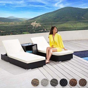 TecTake 2X Aluminium Polyrattan Sonnenliege + Tisch Gartenmöbel Set - inkl. 2 Bezugsets + Schutzhülle, Edelstahlschrauben - Diverse Farben - (Schwarz-Braun (Nr. 401499)) - 4