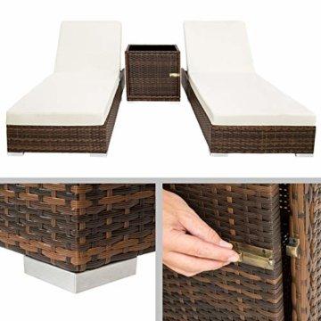 TecTake 2X Aluminium Polyrattan Sonnenliege + Tisch Gartenmöbel Set - inkl. 2 Bezugsets + Schutzhülle, Edelstahlschrauben - Diverse Farben - (Schwarz-Braun (Nr. 401499)) - 5
