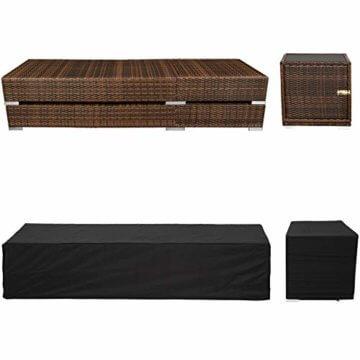 TecTake 2X Aluminium Polyrattan Sonnenliege + Tisch Gartenmöbel Set - inkl. 2 Bezugsets + Schutzhülle, Edelstahlschrauben - Diverse Farben - (Schwarz-Braun (Nr. 401499)) - 6