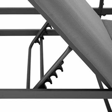 TecTake 403214 Aluminium Sitzgruppe für Garten und Balkon, wetterfest, 6-Fach verstellbare Rückenlehne, Tisch mit Sicherheitsglasplatte, inkl. weiche Sitz- und Rückenkissen, grau - 2