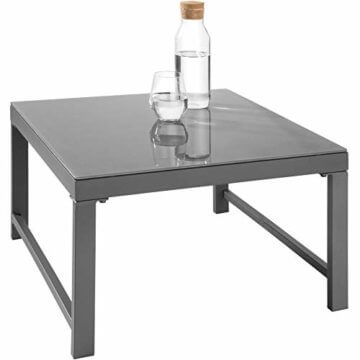 TecTake 403214 Aluminium Sitzgruppe für Garten und Balkon, wetterfest, 6-Fach verstellbare Rückenlehne, Tisch mit Sicherheitsglasplatte, inkl. weiche Sitz- und Rückenkissen, grau - 3