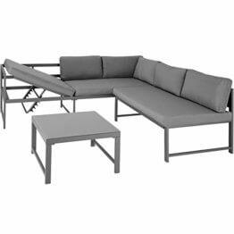 TecTake 403214 Aluminium Sitzgruppe für Garten und Balkon, wetterfest, 6-Fach verstellbare Rückenlehne, Tisch mit Sicherheitsglasplatte, inkl. weiche Sitz- und Rückenkissen, grau - 1