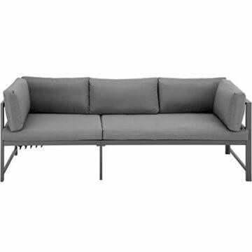 TecTake 403214 Aluminium Sitzgruppe für Garten und Balkon, wetterfest, 6-Fach verstellbare Rückenlehne, Tisch mit Sicherheitsglasplatte, inkl. weiche Sitz- und Rückenkissen, grau - 4