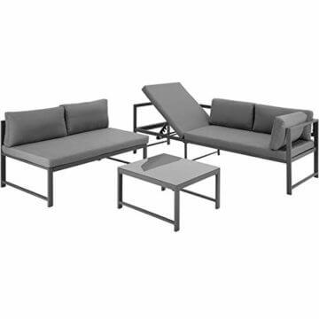 TecTake 403214 Aluminium Sitzgruppe für Garten und Balkon, wetterfest, 6-Fach verstellbare Rückenlehne, Tisch mit Sicherheitsglasplatte, inkl. weiche Sitz- und Rückenkissen, grau - 5