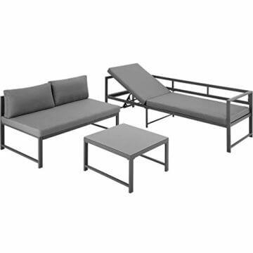 TecTake 403214 Aluminium Sitzgruppe für Garten und Balkon, wetterfest, 6-Fach verstellbare Rückenlehne, Tisch mit Sicherheitsglasplatte, inkl. weiche Sitz- und Rückenkissen, grau - 7