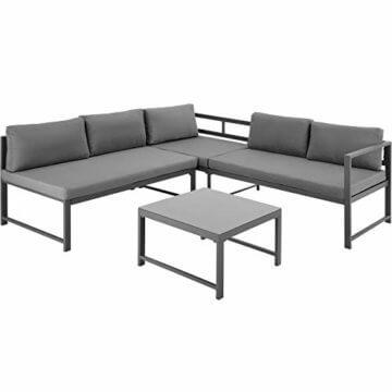 TecTake 403214 Aluminium Sitzgruppe für Garten und Balkon, wetterfest, 6-Fach verstellbare Rückenlehne, Tisch mit Sicherheitsglasplatte, inkl. weiche Sitz- und Rückenkissen, grau - 8