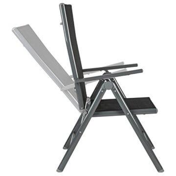 TecTake 800355 Aluminium Polyrattan 6+1 Sitzgarnitur Set, 6 Klappstühle & 1 Tisch mit Glasplatten - Diverse Farben (Dunkelgrau | Nr. 402166) - 2