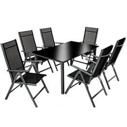 TecTake 800355 Aluminium Polyrattan 6+1 Sitzgarnitur Set, 6 Klappstühle & 1 Tisch mit Glasplatten - Diverse Farben (Dunkelgrau | Nr. 402166) - 1