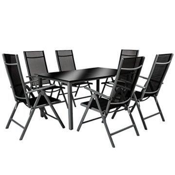 TecTake 800355 Aluminium Polyrattan 6+1 Sitzgarnitur Set, 6 Klappstühle & 1 Tisch mit Glasplatten - Diverse Farben (Dunkelgrau | Nr. 402166) - 4