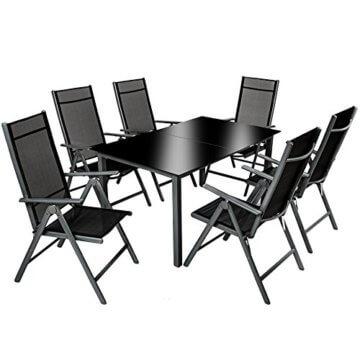 TecTake 800355 Aluminium Polyrattan 6+1 Sitzgarnitur Set, 6 Klappstühle & 1 Tisch mit Glasplatten - Diverse Farben (Dunkelgrau   Nr. 402166) - 1