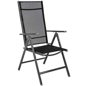 TecTake 800355 Aluminium Polyrattan 6+1 Sitzgarnitur Set, 6 Klappstühle & 1 Tisch mit Glasplatten - Diverse Farben (Dunkelgrau | Nr. 402166) - 5