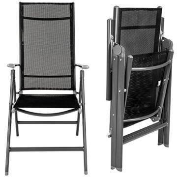 TecTake 800355 Aluminium Polyrattan 6+1 Sitzgarnitur Set, 6 Klappstühle & 1 Tisch mit Glasplatten - Diverse Farben (Dunkelgrau | Nr. 402166) - 6