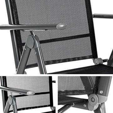 TecTake 800355 Aluminium Polyrattan 6+1 Sitzgarnitur Set, 6 Klappstühle & 1 Tisch mit Glasplatten - Diverse Farben (Dunkelgrau   Nr. 402166) - 7