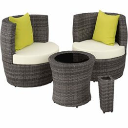 TecTake 800690 Aluminium Poly Rattan Sitzgruppe für 2 Personen, 8-teilig, Aufbewahrung in Ei-Form, wetterfest, inkl. Sitz- und Rückenkissen & Vase – Diverse Farben (Grau | Nr. 403141) - 1