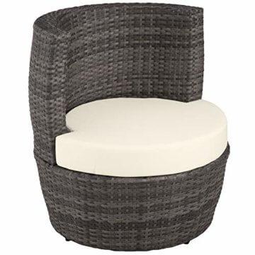 TecTake 800690 Aluminium Poly Rattan Sitzgruppe für 2 Personen, 8-teilig, Aufbewahrung in Ei-Form, wetterfest, inkl. Sitz- und Rückenkissen & Vase – Diverse Farben (Grau | Nr. 403141) - 5
