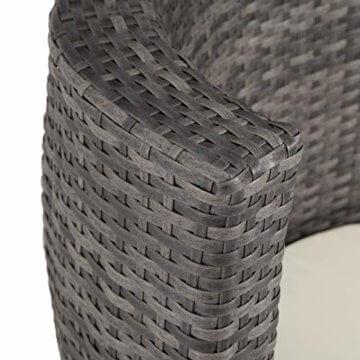 TecTake 800690 Aluminium Poly Rattan Sitzgruppe für 2 Personen, 8-teilig, Aufbewahrung in Ei-Form, wetterfest, inkl. Sitz- und Rückenkissen & Vase – Diverse Farben (Grau | Nr. 403141) - 6