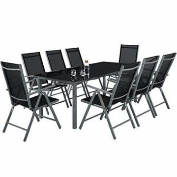 TecTake Aluminium Sitzgarnitur 8+1 Sitzgruppe Gartenmöbel Tisch & Stuhl-Set - Diverse Farben - (Dunkelgrau | Nr. 402164) - 3