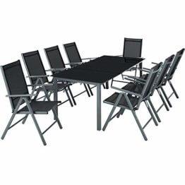 TecTake Aluminium Sitzgarnitur 8+1 Sitzgruppe Gartenmöbel Tisch & Stuhl-Set - Diverse Farben - (Dunkelgrau   Nr. 402164) - 1