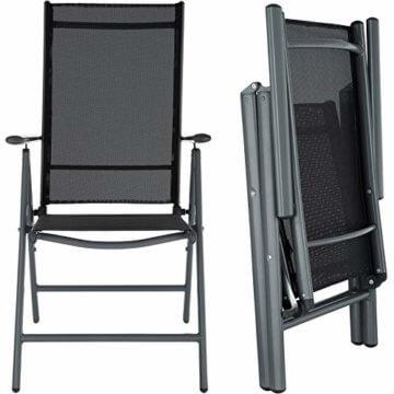 TecTake Aluminium Sitzgarnitur 8+1 Sitzgruppe Gartenmöbel Tisch & Stuhl-Set - Diverse Farben - (Dunkelgrau | Nr. 402164) - 7