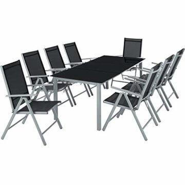 TecTake Aluminium Sitzgarnitur 8+1 Sitzgruppe Gartenmöbel Tisch & Stuhl-Set - Diverse Farben - (Silber Grau   Nr. 402165) - 1