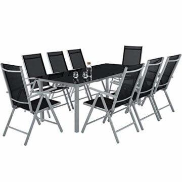 TecTake Aluminium Sitzgarnitur 8+1 Sitzgruppe Gartenmöbel Tisch & Stuhl-Set - Diverse Farben - (Silber Grau   Nr. 402165) - 2