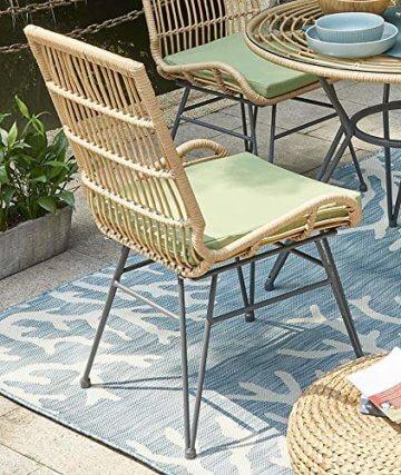 Vintagehaus Sitzgruppe Rattan Outdoor Bistro 5 teilig PE Rattan Polyrattan 4 Stühle inkl.Kissen 1 Esstisch Ø 90 - 2