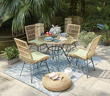 Vintagehaus Sitzgruppe Rattan Outdoor Bistro 5 teilig PE Rattan Polyrattan 4 Stühle inkl.Kissen 1 Esstisch Ø 90 - 1