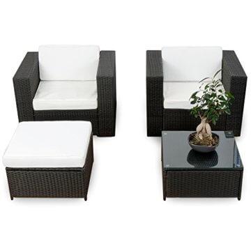 XXL Balkon Lounge Set für Balkon und Terrase erweiterbar - Polyrattan Balkon Lounge Set - schwarz – Gartenmöbel Lounge Möbel Set Garnitur - Gartenlounge Set + Lounge Sessel + Hocker + Tisch + Kissen - 1