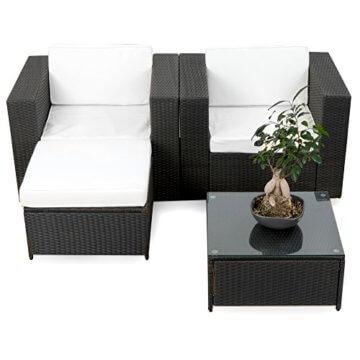 XXL Balkon Lounge Set für Balkon und Terrase erweiterbar - Polyrattan Balkon Lounge Set - schwarz – Gartenmöbel Lounge Möbel Set Garnitur - Gartenlounge Set + Lounge Sessel + Hocker + Tisch + Kissen - 5